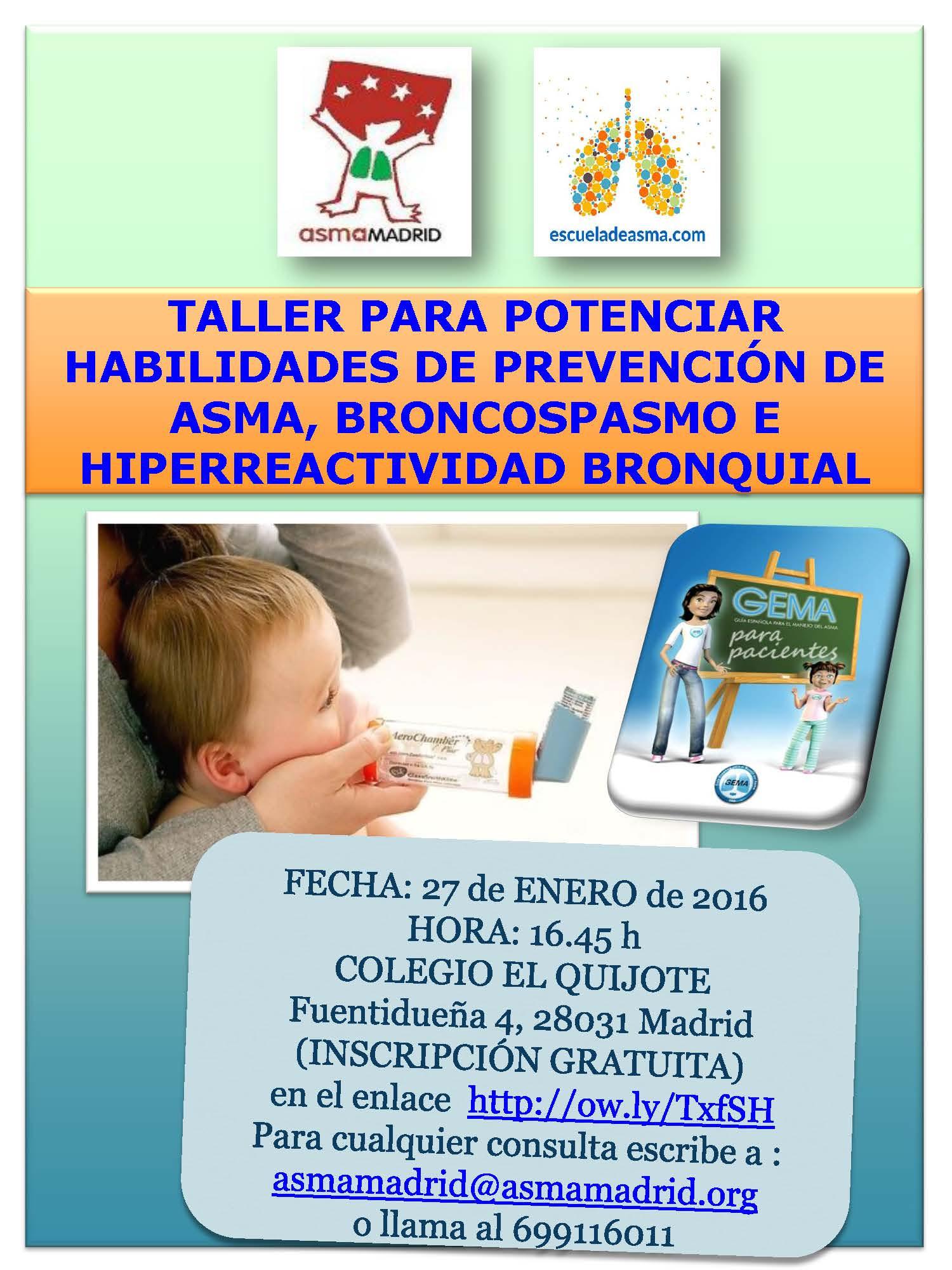 Curso-taller gratuito de asma el 27 de enero