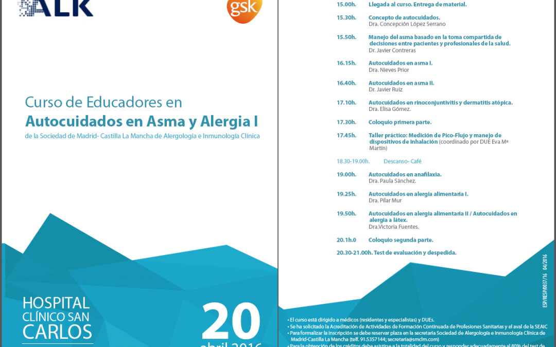 Curso de autocuidados en asma y alergia en Madrid (SMCLM)