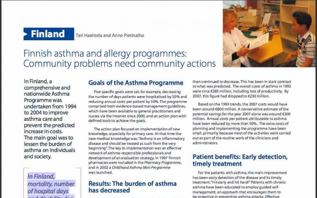 Programa Finlandés de Asma: Drástica reducción de ingresos