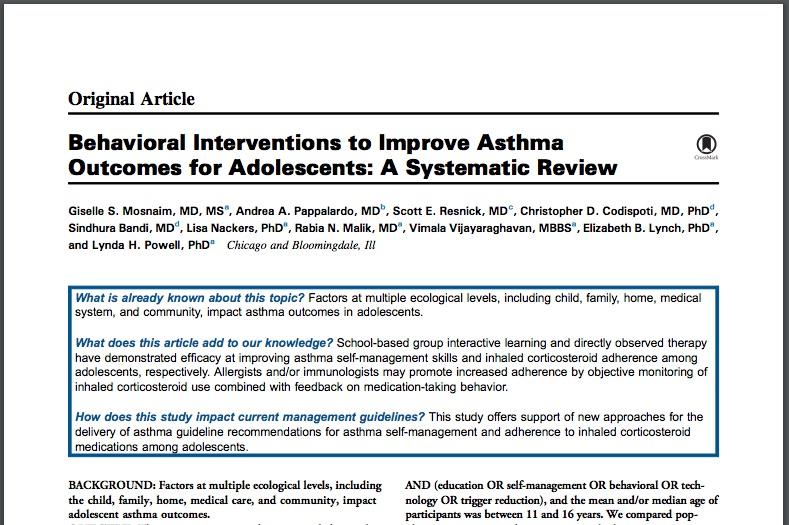 Intervenciones comportamentales en adolescentes con asma