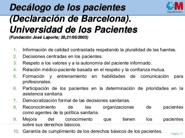 Declaración de Barcelona de las Asociaciones de Pacientes