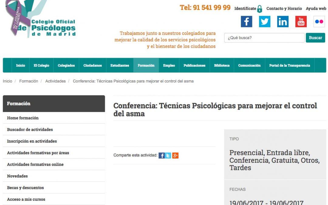 Conferencia: Técnicas Psicológicas para mejorar el control del asma
