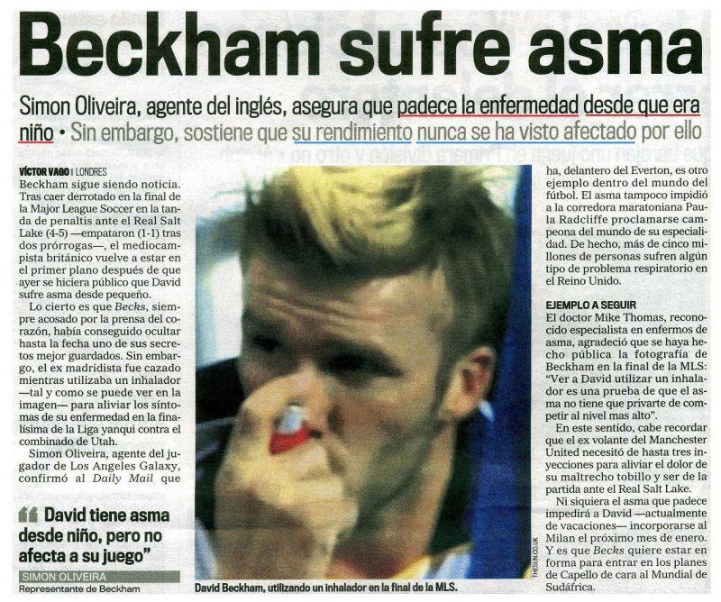 Beckham padece asma