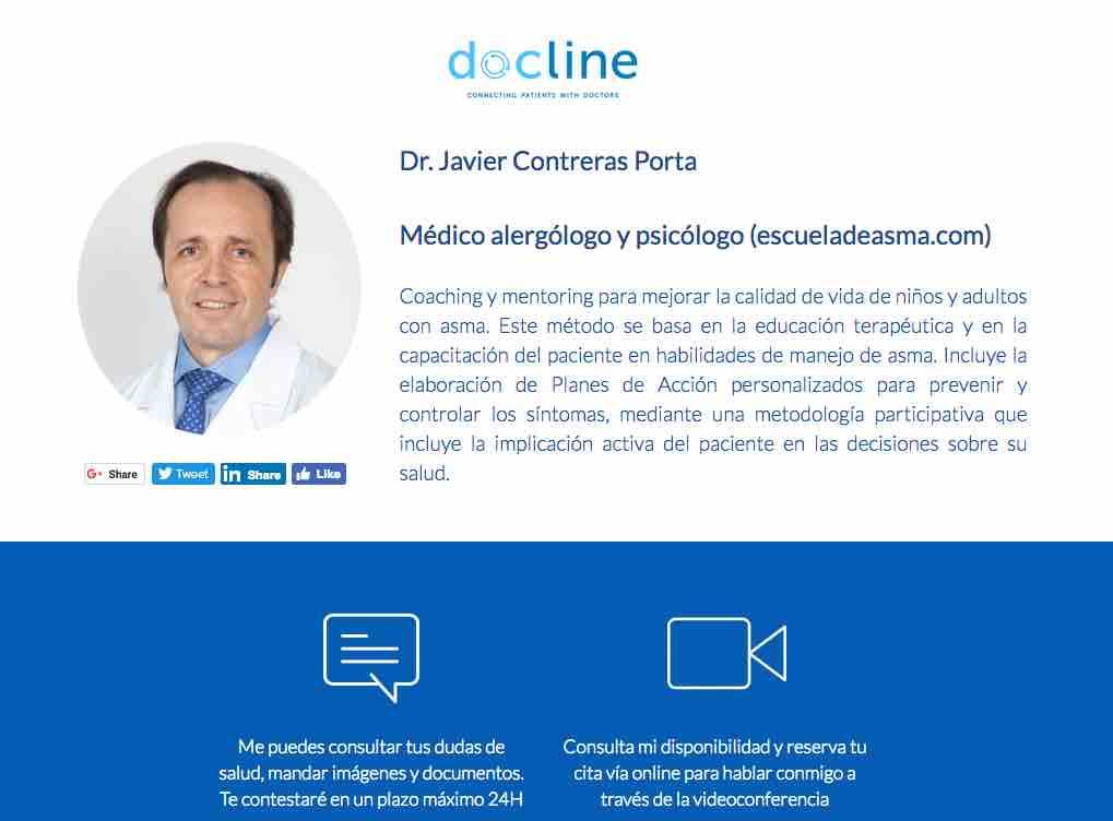Coaching y mentoring ONLINE para prevenir broncospasmos (Docline)