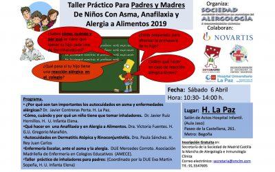 Taller práctico para padres y  de niños con asma, anafilaxia o alergia a alimentos el sábado 6 de abril (SMCLM-2019-Hospital La Paz)