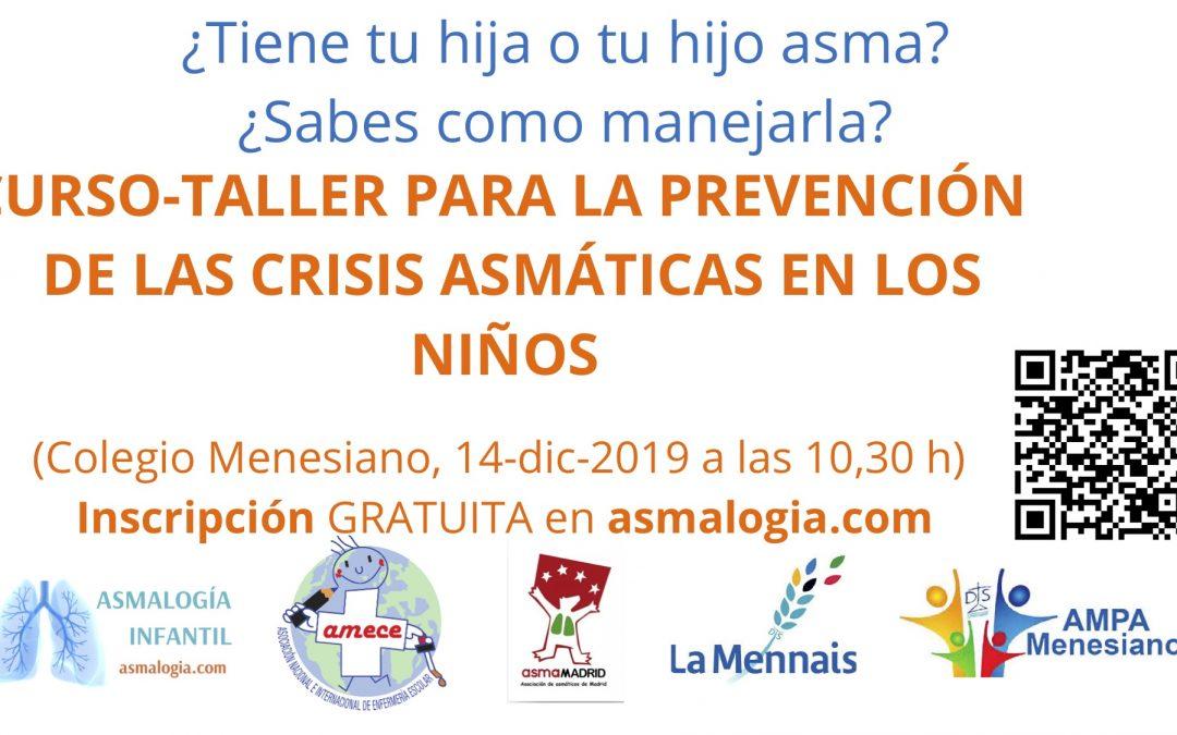 Taller para mejorar el asma en niños (Colegio Menesianos en Madrid, 14 de diciembre 2019)